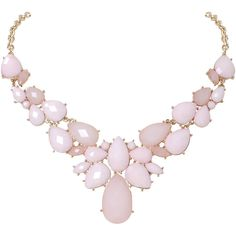 Humble Chic NY Sorbet Statement Necklace (€35) ❤ liked on Polyvore featuring jewelry, necklaces, collares, pink, bib necklace, colorful statement necklace, pink statement necklace, pink necklace and chain statement necklace