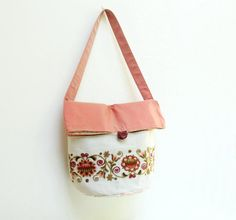 Fold Top Shoulder Bag  Vintage Hand Embroidered Silk by StarBags, $124.00