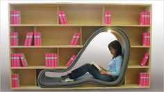 """""""The Cave"""" bookshelf by Japanese furniture designer Sakura Adachi offers booklovers a comfortable space in which they can really become one with their reading material."""
