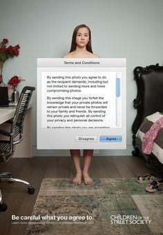 Au Canada, l'association Children of the Street Society révèle une campagne choc pour sensibiliser au danger de partager des photos intimes.