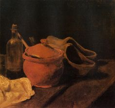 Still Life with Earthenware, Bottle and Clogs via Vincent van Gogh Medium: oil on canvas