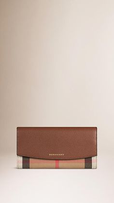 Tan House Check and Leather Continental Wallet - Image 1