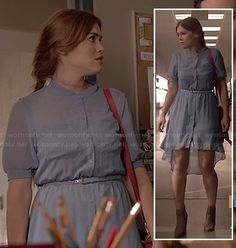 Lydia's blue high-low shirtdress on Teen Wolf. Outfit Details: http://wornontv.net/18318/ #TeenWolf