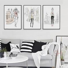 900D Posters And Prints Wall Art Canvas Painting Wall Pictures For Living Room Fashion Girl Decoration NOR014