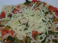 Shrimp Florentine pasta with garlic butter wine sauce
