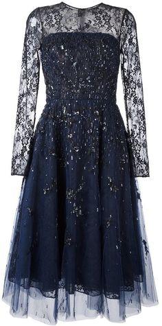 Oscar de la Renta sequined lace overlay dress