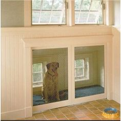 Built-in dog kennel! Could include a doggy door to the yard. Nice bright light and open feel. Better than wire or enclosed crate where dog can only see out of one side. I'd add pillows and toys.