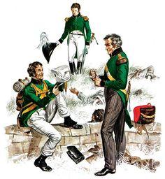 """""""Nassau and Oldenburg""""   • Jäger, 1st Infantry Regiment, 1815 (at Waterloo)  • Officer of the General Staff, parade dress, 1815  • Officer of Grenadiers, 1st Infantry Regiment, 1815  Gerry Embleton"""