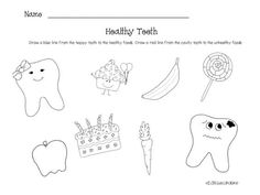 Dental Health Printables | worksheet click here we use to discuss healthy foods healthy teeth: