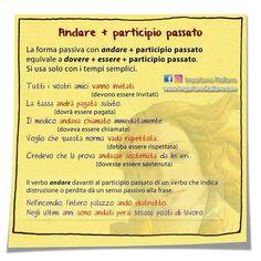 Andare + participio passato  #impariamoitaliano 🇮🇹 #learnitalian #learningitalian #italianvocabulary #studyitalian #linguaitaliana… Italian Grammar, Italian Language, Learn To Speak Italian, Italian Lessons, Learning Italian, Study Notes, English, Writing, School