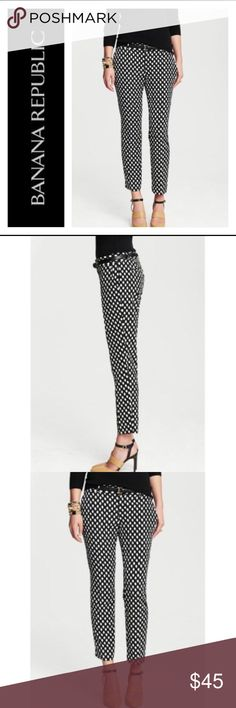 Banana Republic Camden fit pants Black & white dot style Camden trousers from Banana Republic. EUC 100% Polyester  More pics coming Banana Republic Pants