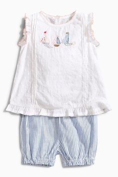Buy White/Blue Boat Blouse and Bloomer Set (0mths-2yrs) from the Next UK online shop