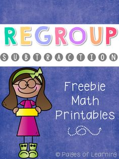 A no-prep sample of printables to help your students practice the concept of subtracting with regrouping. This product is from my Place Value Subtraction practice pack. Teaching Subtraction, Subtraction Activities, Teaching Math, Math Activities, Subtraction With Borrowing, Math Resources, Maths, Second Grade Math, First Grade Math