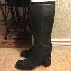 """Bandolino Black Leather Boots """"Leather upper, Balance Man-made"""". Bandolino Shoes"""