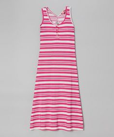 Another great find on #zulily! White & Fuchsia Stripe Maxi Dress - Girls by Chillipop #zulilyfinds