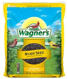 Wagner's 62051 Nyjer Seed Bird Food, 5-Pound Bag  The favorite seed of Finches including the desirable Goldfinch  Contains 150,000 seeds per pound creating many visits to the feeder  An extra clean seed that provides high energy content for backyard songbirds  Convenient reclosable slider  Ideal for use in Finch feeders which have smaller holes and tiny perches