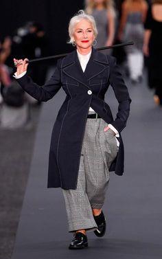 Helen Mirren makes her catwalk debut at Paris Fashion Week, with Cheryl Cole and Jane Fonda