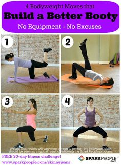 No equipment? No problem--try these 4 bodyweight moves that require no equipment, just your own body! This workout will take your booty routine to the next level.