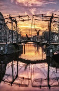 Sunset in beautiful Schiedam, Netherlands (Rotterdam).