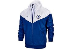 Nike Chelsea Windrunner Jacket - Rush Blue & White Nike Chelsea Windrunner JacketIf you're planning to brave the elements, and want to do it in style, y Chelsea Soccer, Chelsea Fans, Jersey Atletico Madrid, Windrunner Jacket, Soccer Gear, European Soccer, Tottenham Hotspur, Liverpool Fc, Soccer