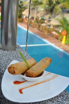 Spring rolls with a view! At Klay Talay Restaurant, El Dorado Seaside Suites, by Karisma