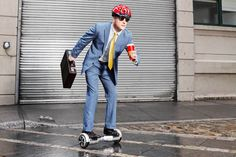 Businessman on a hoverboard.