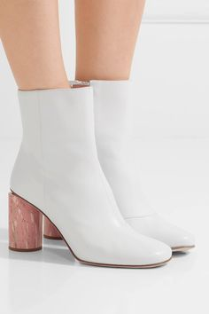 Heel measures approximately 75mm/ 3 inches White leather Zip fastening along side Made in Italy
