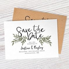 Simple save the date cards with greenery for country rustic weddings, custom wedding invitations, cheap wedding invitations, Diy Save The Dates, Wedding Save The Dates, Save The Date Cards, Our Wedding, Dream Wedding, Save The Date Ideas, Trendy Wedding, Save The Date Invitations, Wedding Invitations