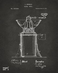 Digital Art - 1873 Coffee Mills Patent Artwork Gray by Nikki Marie Smith , Coffee Poster, Coffee Art, Schematic Design, Blueprint Art, Bar Logo, Coffee Images, Coffee Drawing, Patent Drawing, Vintage Poster
