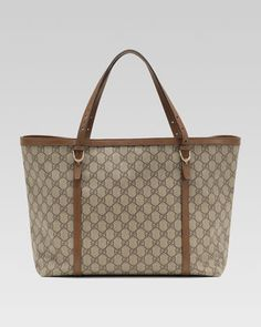 Nice GG Supreme Canvas Tote, Brown by Gucci at Neiman Marcus. $886.80
