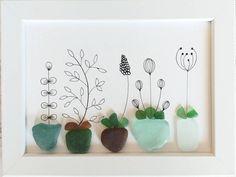 Sea Glass Crafts, Sea Glass Art, Glass Wall Art, Sea Glass Decor, Glass Flowers, Flower Vases, Art Flowers, Driftwood Wall Art, Coastal Wall Decor