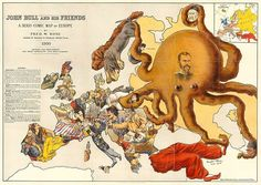 """From @1843mag. This map from 1900 shows how Britain viewed Europe at the time: Tsar Nicholas II's Russia, seen as the major threat, is depicted as an #octopus with its tentacles around #Poland, #Finland and the #Chinese. #Germany plays with its ships while #Spain and #Turkey sit recumbent, major powers brought low. Search """"An army of mapmakers"""" on 1843magazine.com to see how the European situation was cartographically depicted in the first half of the 20th century. Credit: @themaphouse"""