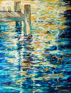 Reflections by the Dock, abstract painting by Linda Olsen