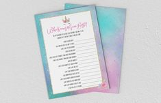 Baby Shower Games - Unicorn - Who Knows Mum Best? Baby Shower Games, Pink And Gold, Etsy Store, Unicorn, Daddy, Girly, Printables, Invitations, Digital