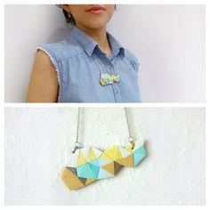Small Polymer Clay Necklace Meet Market, Polymer Clay Necklace, Daydream, Mosaic, Drop Earrings, Jewelry, Fashion, Moda, Jewlery