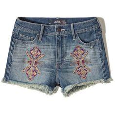 Hollister High Rise Denim Short-Shorts ($17) ❤ liked on Polyvore featuring shorts, medium wash, denim short shorts, distressed shorts, high waisted short shorts, high-rise shorts and hot pants