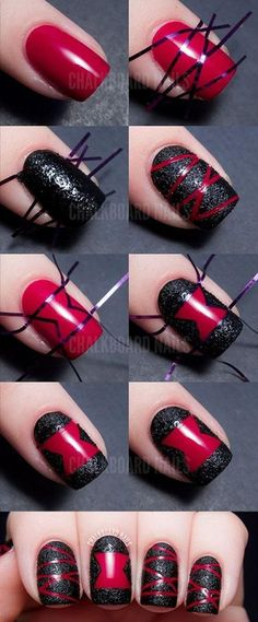 Black And Red Striped Nails – DIY Tutorial