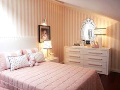 Pink striped walls