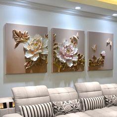 Clay Wall Art, Mural Wall Art, Wall Art Decor, Living Room Paint, Living Room Decor, Decor Room, Living Rooms, Flower Room Decor, Pink Home Decor