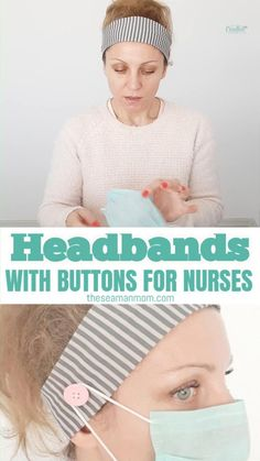 If you are making masks with elastic , you might wanna consider including a few stretchy headbands for nurses, as a token of appreciation. video face mask DIY HEADBAND WITH SIDE BUTTONS Sewing Headbands, Stretchy Headbands, Make Headbands, Fabric Headbands, Flower Headbands, Sewing Hacks, Sewing Tutorials, Sewing Crafts, Sewing Tips