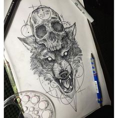 artwork design wolf tattoo on Instagram