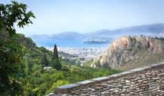 View from Archontiko Argyro towards the city of Volos, Pelion, Greece