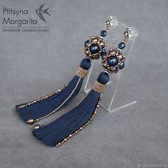 "Beaded earrings with tassels | Купить Серьги кисти ""Night blue + Brown"", вечерние серьги, серьги с жемчугом в интернет магазине на Ярмарке Мастеров"