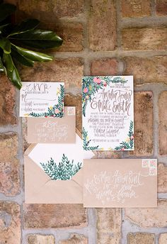 Tuscan Inspired Greenery - Wedding Invitations + Calligraphy  - Customizable