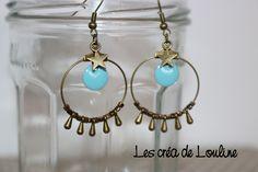 Boucles d'oreilles créoles bronze et bleu ciel : Boucles d'oreille par les-crea-de-louline