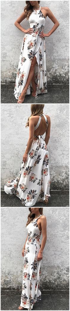 Sleeveless Side Split Back Lace-up Random Floral Print Maxi Dress,Halter Prom Dress,Plus Size Evening Dress,Prom - Evening Dresses Mode Outfits, Dress Outfits, Trendy Outfits, Casual Outfits For Girls, Girl Outfits, Pretty Dresses, Beautiful Dresses, Evening Dresses Plus Size, Floral Print Maxi Dress