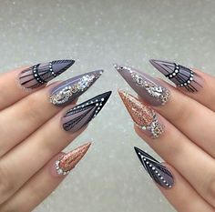 Grey Stiletto Nail Art Ideas Related posts: Simple Nails Art Ideas Compilation for beginners Lovely Nail Designs Ideas Best stiletto nail art designs Pretty Stone Nail Art Design Ideas Latest Nail Art, Trendy Nail Art, Stylish Nails, Nail Art Designs, Nail Art Design Gallery, Stiletto Nail Art, Gel Nail Art, Nail Art Ethnique, Nagel Bling