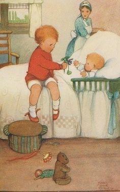 illustrations de mabel lucie attwell - Page 6 Vintage Greeting Cards, Vintage Postcards, Vintage Pictures, Vintage Images, Drawing For Kids, Art For Kids, Vintage Children's Books, Children's Book Illustration, Vintage Prints