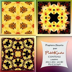 PUBLIKADO: Trio de papier fleuri # 1 - CONTENU 3 papiers - 3600 x 3600 - 300 dpi PU-CU-S4H