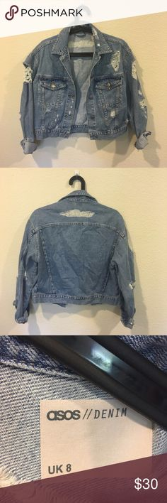 ASOS denim ripped jean jacket Awesome jean jacket! From the Miller Affect blog! No trades. ASOS Jackets & Coats Jean Jackets